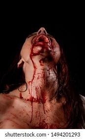 Bloody Woman Screaming in Fear