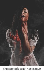 Bloody Woman Yelling