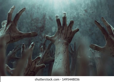Bloody zombie hands, halooween theme