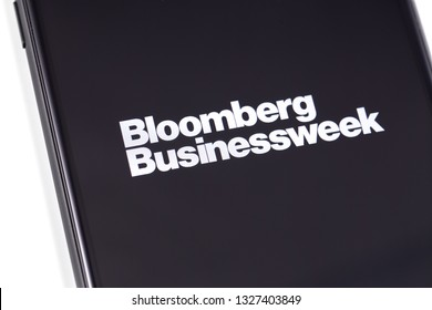 Bloomberg Businessweek logo on the screen smartphone. Bloomberg L.P. is a privately held financial software, data and media company. Moscow, Russia - March 1, 2019