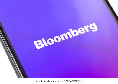 Bloomberg logo on the screen smartphone. Bloomberg L.P. is a privately held financial software, data and media company. Moscow, Russia - March 1, 2019