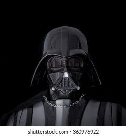 BLOOMFIELD NJ: JAN 10, 2016: Portrait of Darth Vader mask and helmet on a black background.  Darth Vader is a Sith Lord also known as Anakin Skywalker, and is father to Luke Skywalker
