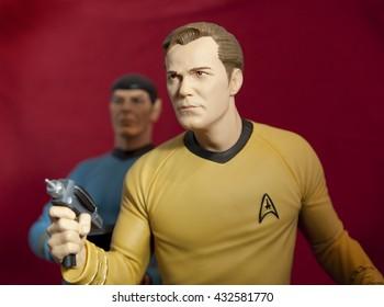 BLOOMFIELD NJ - JUNE 5 2016: Captain Kirk and Mr Spock toys recreate a scene from Star Trek.