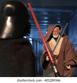 BLOOMFIELD NJ - MARCH 10 2016: Recreation with action figures of climatic duel between Darth Vader and Obi Wan 'Ben' Kenobi from Star Wars A New Hope