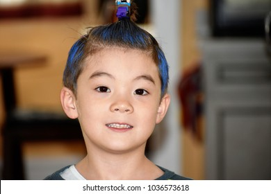 Bloomfield, N.J, U.S.A - March 1 2018 : Portrait of a young boy set wacky hair on Wacky hair day for school
