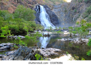 bloomfield waterfall , aboriginal reservation, cooktown, queensland, australia, scenic tropical crocodile infested water lake river