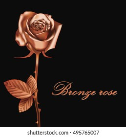 Blooming Bronze Flower Rose object. Love, romance and Valentine greeting holiday card