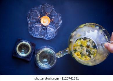 Blooming, Flowering Tea in Glass Teapot