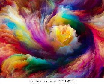Blooming rose in swirl of colorful paint as backdrop for subject of art, creativity and imagination. Custom background series.