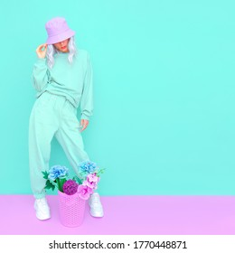 Blooming Summer look. Vanilla flowers casual Girl. Aqua menthe design trends. Street style Lady