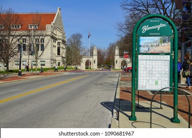 BLOOMINGTON, IN -11 APR 2018- View of Kirkwood Street across from the college campus of Indiana University Bloomington (IU), a major public research university located in the US midwest.