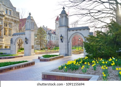 BLOOMINGTON, IN -11 APR 2018- View of the Sample Gates at the entrance of the college campus of Indiana University Bloomington (IU), a major public research university located in the US midwest.