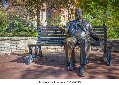 BLOOMINGTON, IN/USA - OCTOBER 22, 2017: Herman B. Wells sculpture on the campus of the University of Indiana.