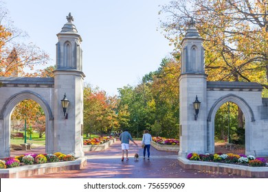 BLOOMINGTON, IN/USA - OCTOBER 22, 2017: Unidentified individuals and Sample Gates on the campus of the University of Indiana.