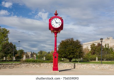 BLOOMINGTON, IN/USA - OCTOBER 22, 2017: Landmark campus clock and logo on the campus of the University of Indiana.