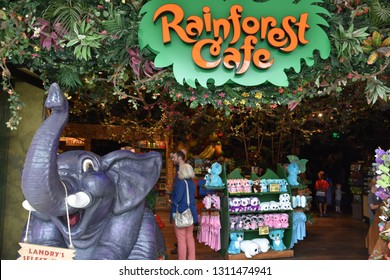 BLOOMINGTON, MINNESOTA - JUL 27: Rainforest Cafe at Mall of America in Bloomington, Minnesota, on July 27, 2017. Its the second largest mall in leaseable space and largest mall in the US.