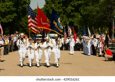 BLOOMINGTON MINNESOTA, UNITED STATES OF AMERICA - May 30th 2016: Memorial Day at Fort Snelling National Cemetery. Color Guard