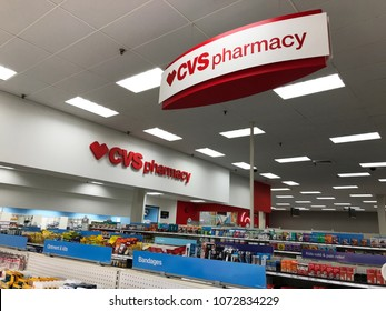 Bloomington, MN/USA- April 19, 2018. Interior shot of a CVS Pharmacy inside of a Target store in Minnesota.
