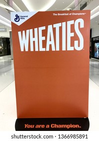 Bloomington, MN/USA. April 6, 2019. A giant Wheaties box on display at the Mall of America. It is blank where there is usually an athlete so people can take photos with it.
