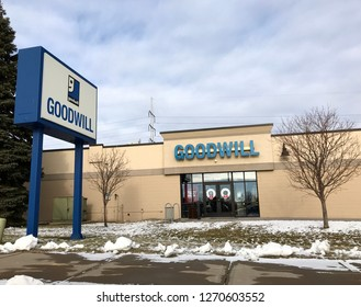 Bloomington, MN/USA. December 30, 2018. The exterior of a Goodwill store in Minnesota during winter with snow on the ground.