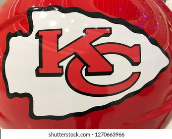 Bloomington, MN/USA- JANUARY 8, 2018. Closeup of a right-facing Kansas City Chiefs jumbo helmet on display for the Super Bowl. The Chiefs made headlines as Patrick Mahomes threw for 50 TDs.