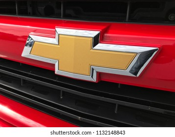 Bloomington, MN/USA- July 11, 2018. Closeup of a red Chevrolet Silverado Truck in a parking lot in Minnesota.