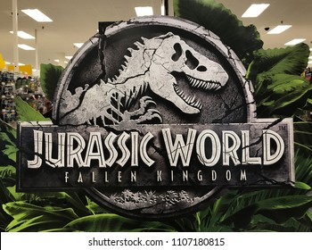 Bloomington, MN/USA- June 6, 2018. Cardboard display of Jurassic World Fallen Kingdom in a retail store in Minnesota.
