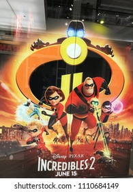 Bloomington, MN/USA- June 7, 2018. Decal on a window featuring characters in the Incredibles 2 film that is coming out on June 15th.