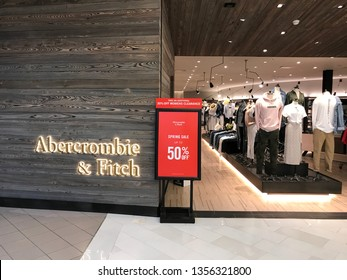 Bloomington, MN/USA. March 27, 2019. The exterior of the redesigned Abercrombie and Fitch store in the Mall of America.