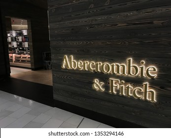 Bloomington, MN/USA. March 28, 2019. The exterior of an Abercrombie and Fitch store after their recent redesign in the Mall of America.