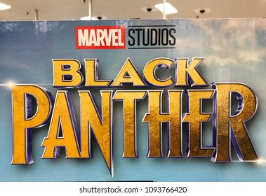 Bloomington, MN/USA May 15, 2018. Cardboard display of the Marvel film Black Panther in a retail store in Minnesota.