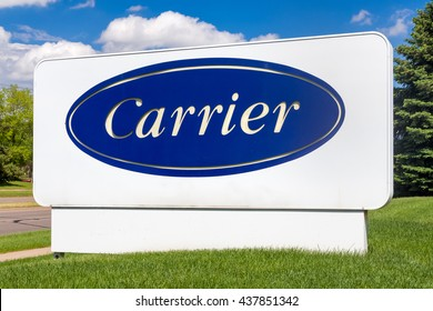 BLOOMINGTON, MN/USA - MAY 29, 2016: Carrier Corporation sign and symbol. Carrier manufacturers heating, ventilating and air conditioning systems.