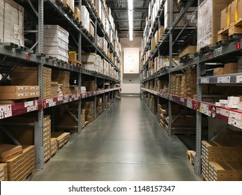 Bloomington, MN/USA- May 3rd, 2018. The interior aisle of boxed furniture pieces in an Ikea store in Minnesota.
