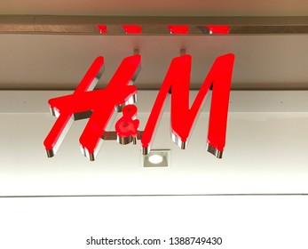 Bloomington, MN/USA. May 4, 2019. The exterior top of the entrance to an H & M store in Minnesota.