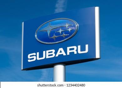 BLOOMINGTON, MN/USA - NOVEMBER 18, 2018: Subaru automobile dealership and trademark logo.