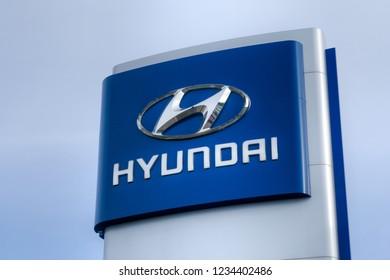BLOOMINGTON, MN/USA - NOVEMBER 18, 2018: Hyundai automobile dealership sign and trademark logo. The Hyundai Motor Company is a South Korean multinational automotive manufacturer.