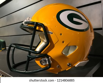 Bloomington, MN/USA- October 28, 2018. A Green Bay Packers helmet on a temporary display during the football season.