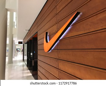 Bloomington, MN-USA- September 5th, 2018. The exterior of the Nike Store at the Mall of America. Nike has been trending in the news because of their new campaign featuring Colin Kaepernick.