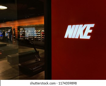 Bloomington, MN-USA- September 5th, 2018. The Nike Store at the Mall of America. Nike has been trending in the news with their new campaign featuring Colin Kaepernick.