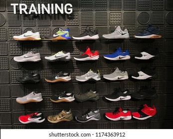 Bloomington, MN-USA- September 5th, 2018.  A wall of shoes at The Nike Store at the Mall of America. Nike has been trending in the news with their new campaign featuring Colin Kaepernick.