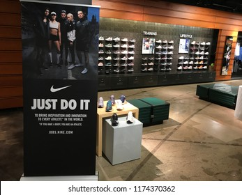 Bloomington, MN-USA- September 5th, 2018. Interior of the Nike Store at the Mall of America. Nike has been trending in the news with their new campaign featuring Colin Kaepernick.