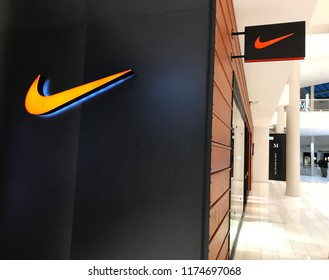 Bloomington, MN-USA- September 5th, 2018. Exterior of the Nike Store at the Mall of America. Nike has been trending in the news with their new ad campaign featuring Colin Kaepernick.