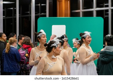 Bloomington, IN / USA - 11 15 2019: IU World's Fare. Chinese students after performing the dance