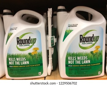 Bloomington,MN/USA- November 11,2018. Roundup weedkiller bottles on display in a retail store. Roundup has been trending in the news because of a lawsuits again it and the parent company Bayer