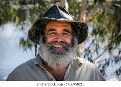"Bloomsbury, QLD / Australia - July 30 2014: Rob Bredl, nickname ""barefoot bushman"""
