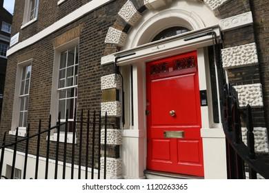 Bloomsbury in West End of London, UK - beautiful Georgian front door.