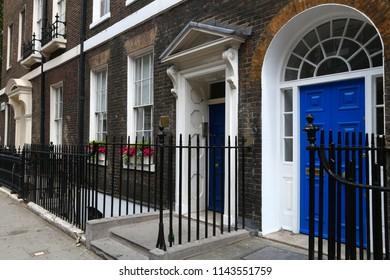 Bloomsbury in West End of London, UK - Georgian front doors.