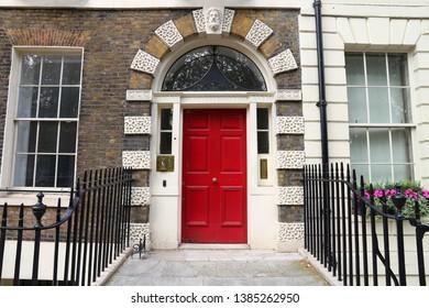 Bloomsbury, West End of London, UK - red Georgian front door.