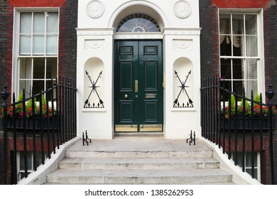 Bloomsbury, West End of London, UK - Georgian front doors.