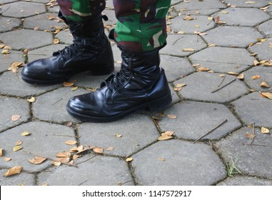 Blora-May 22, 2018: illustrative editorial photo- clothing attribute on Indonesian soldier Tentara Nasional Indonesia (TNI), Central Java, Indonesia